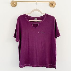 Calia Purple Boxy Crop Athleisure Graphic Tee